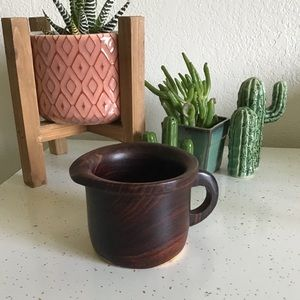 Other - Wooden Cup with Spout, Dark & Light Finished Wood